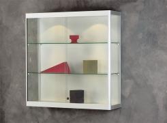 Wandvitrine mit Glasseitenteil