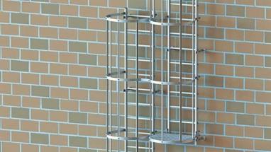 Fassadenleiter-Umstieg