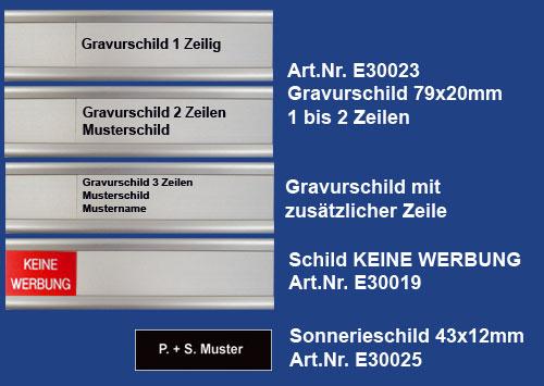 Alumhaus Standardschilder Briefkastenschilder Gravurschilder